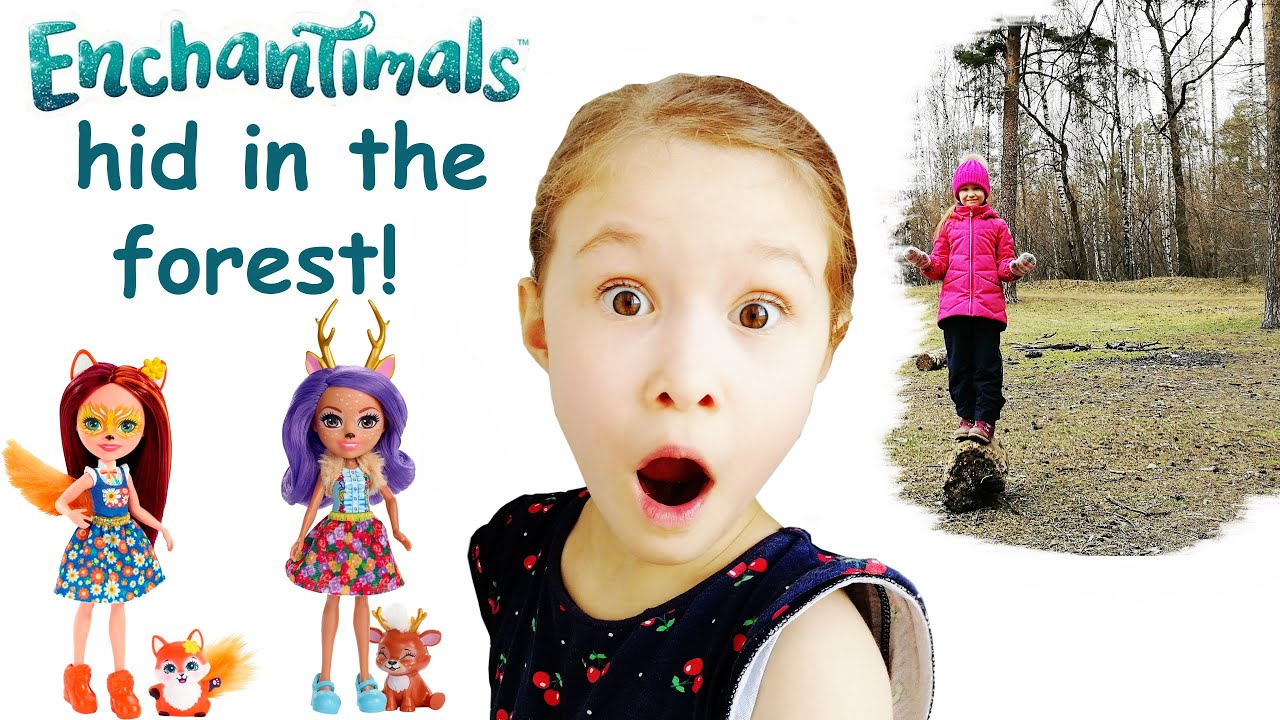 Greta and Adele looking for Enchantimals in the forest / Грета и Аделя ищут Энчантималс в лесу