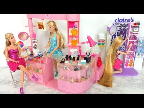 Barbie Cosmetic Accessories Shop Toy Unboxing باربي متجر مستحضرات التجميل Barbie Cosméticos Loja