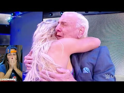 WWE Smackdown 11/14/17 Emotional Ric Flair and Charlotte Celebrate