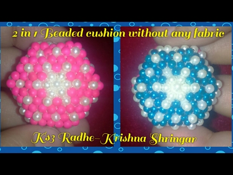 Make beaded 2 in 1 Cushion / Pillow for Ladoo Gopal - No fabric only Pearls - Easy way in hindi