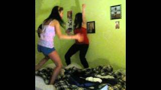 Girls' erotic dance on the bed playing sex positions