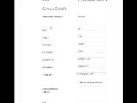 SPSU, Admission form 2014 Demo in 'Hindi-English'