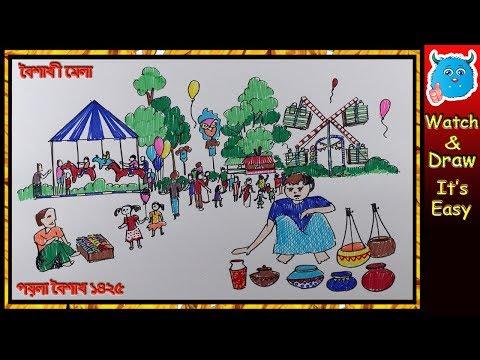 Pohela Boishakh Festival Drawing Scene | How to Draw Scenery of Boishakhi Village Fair