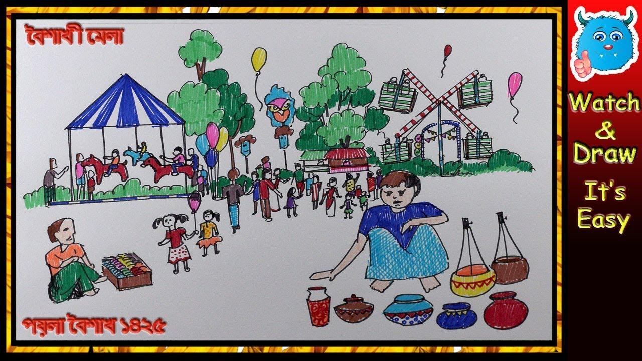Pohela Boishakh Festival Drawing Scene How To Draw Scenery Of Boishakhi Village Fair