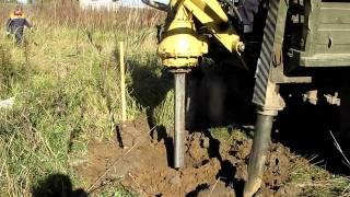 Бурение скважины под бетонную опору ЛЭП 0,4 кВт