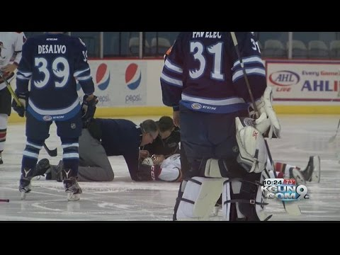 Roadrunners Cunningham collapses on ice