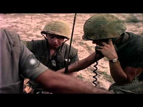 US Marines talk over phone at a field communication center on the White beach dur...HD Stock Footage