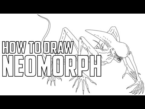 How to draw Neomorph from Alien Covenant Learn to draw Alien