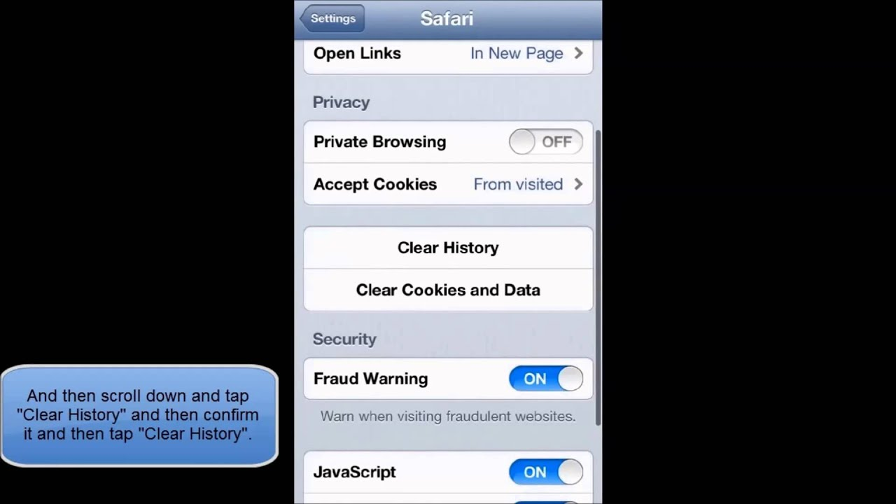 How To Clear History From Safari In Ios 6 (iphone Ipod Touch) Enable Cookies