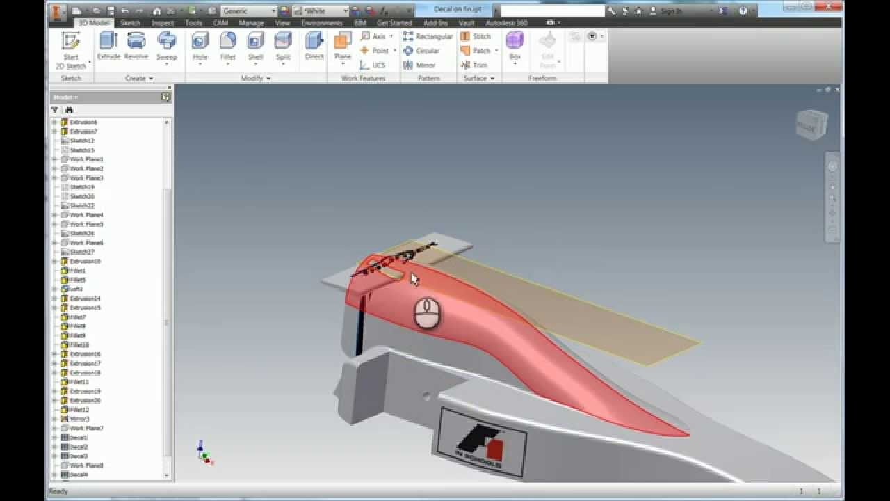 Using the Split Face tool to enhance Decals in Inventor 2015 - YouTube