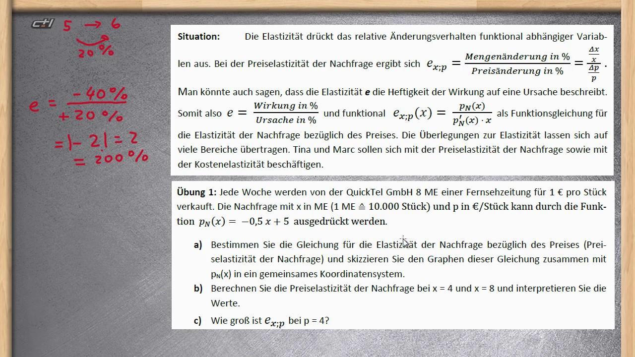Elastizität Berechnen : elastizit t berechnen und interpretieren preiselastizit t der nachfrage teil 1 youtube ~ Themetempest.com Abrechnung