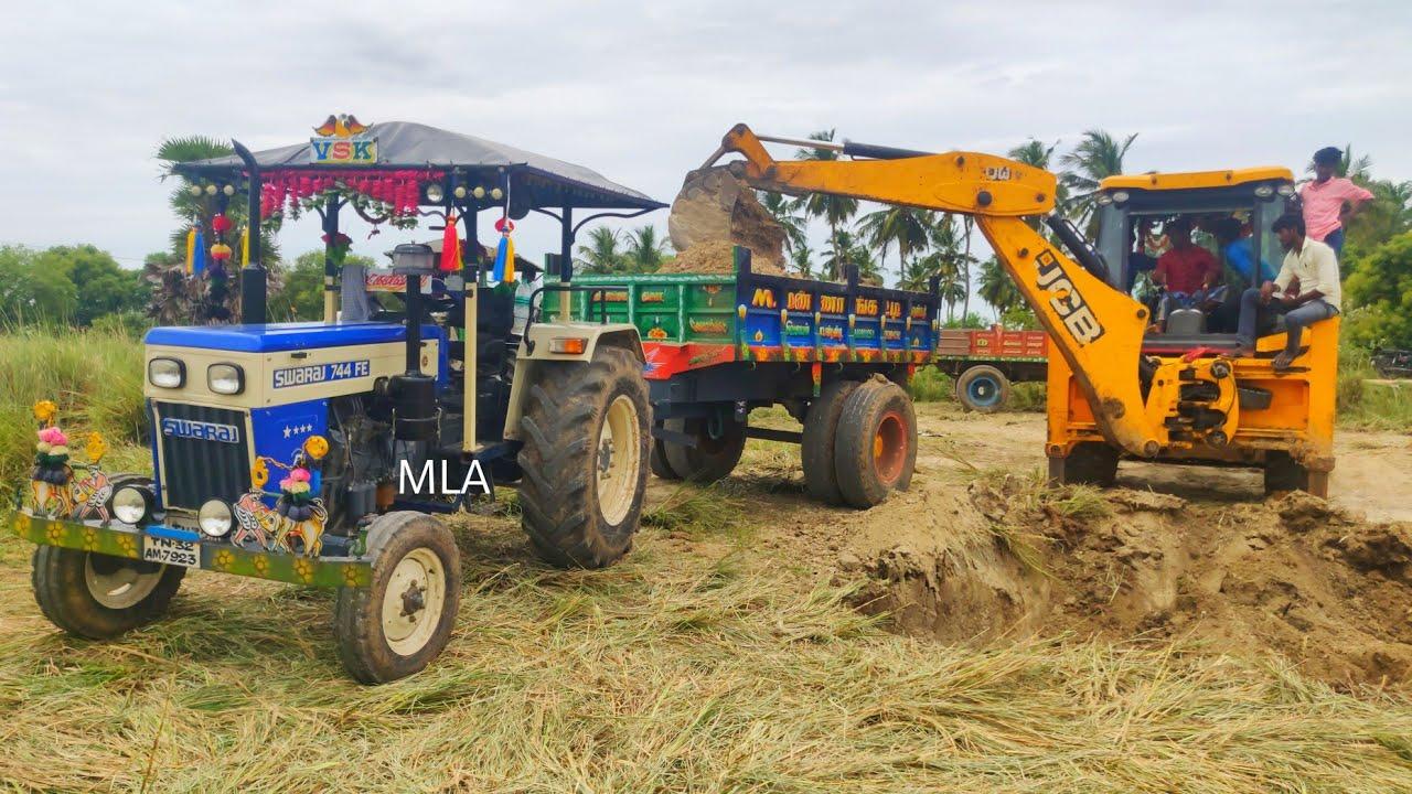 New Swaraj 744 FE power plus tractor with fully loaded trolley | John Deere tractor power | CFV