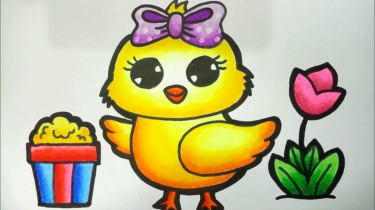 Menggambar Dan Mewarnai Ayam Lucu How To Draw Cute Baby Chick