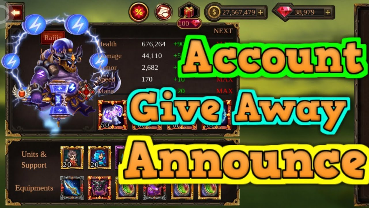 Epic Heroes War Account Give Away Announce Youtube