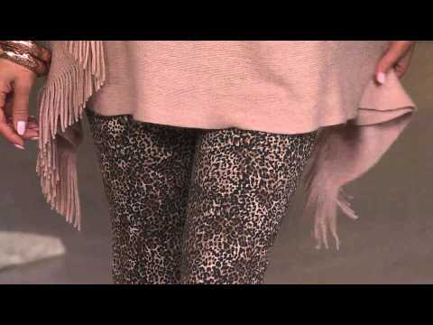 Layers by Lizden Marvelush Cable Knit Fringed Poncho with Carolyn Gracie