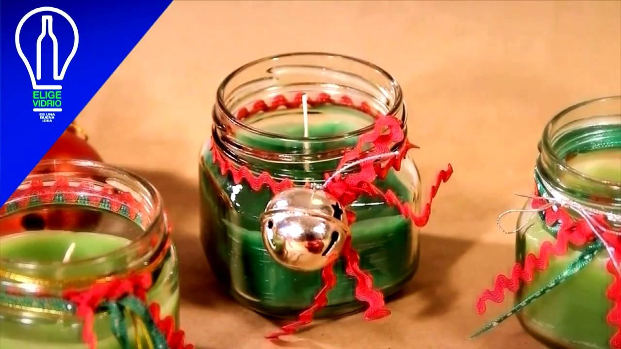 Velas navide as reutilizando frascos de vidrio youtube for Velas navidenas