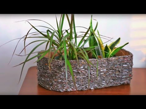 DIY From Newspaper Yarn And Cardboard ||Super Easy Flower Pot Planter Basket || Home Decor Idea |