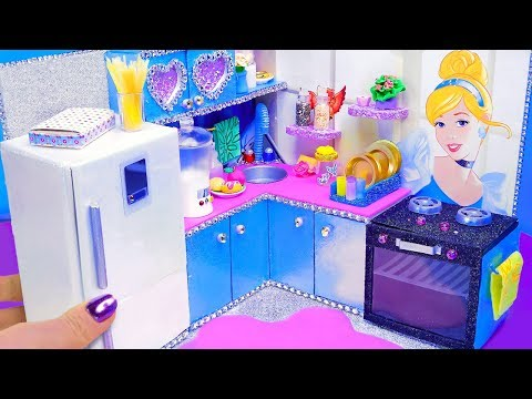 DIY Miniature Cinderella Dollhouse  ~ 12 Kitchen crafts: fridge, stove, blender and more