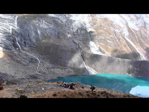 Peru, Cordillera Huayhuash.  Quesillococha and Siula Grande