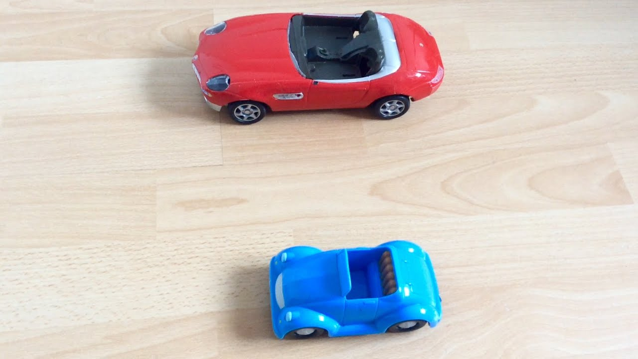 Kids Fun Learning Big Red Toy Racing Car and Small Blue Toy