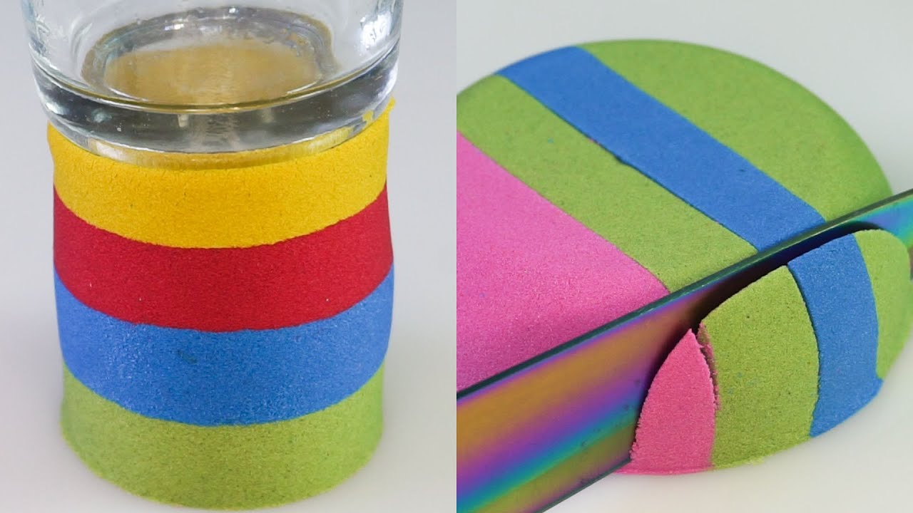 Sand Crunch and Cutting Very satisfying Kinetic Sand