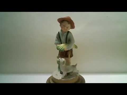 Vintage Boy and Dog Porcelain Musical Figurine.The Happy Wanderer,Valderi Valdera