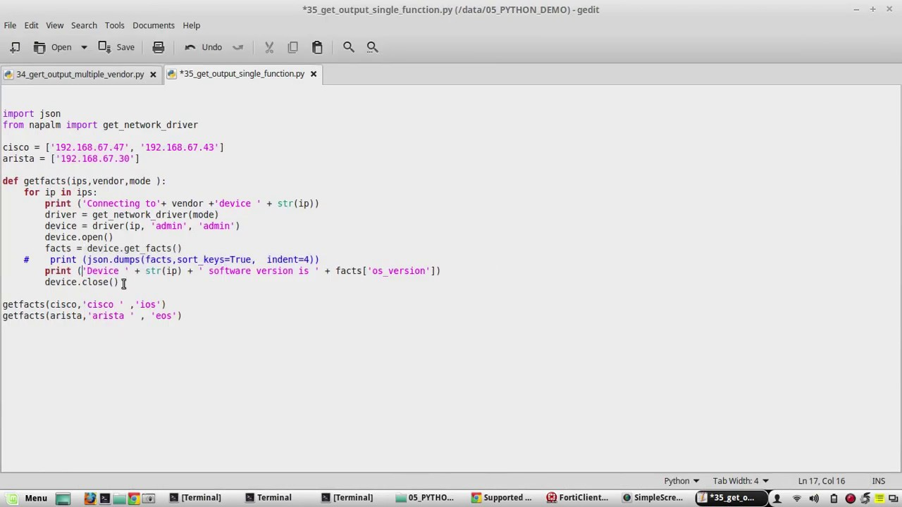Python Networking Same code for Multi vendor configuration Cisco and Arista  using function NAPALM