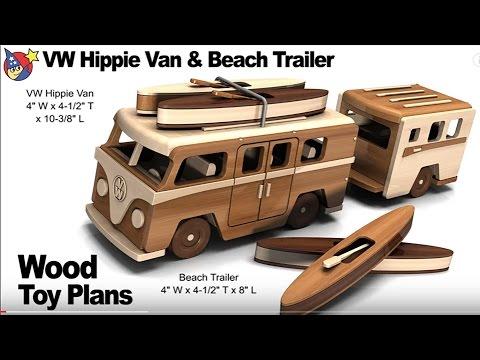 Woodworkers Toy Plans - VW Hippie Van N Beach Trailer