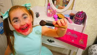 Nastya and Danya play kids hair salon with makeup toys