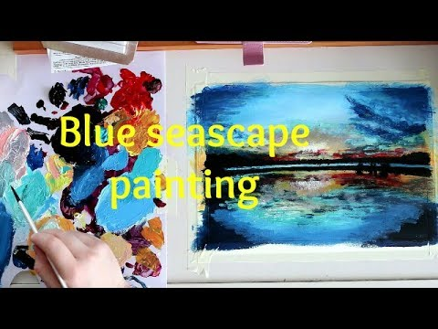 Blue seascape sunset ACRYLIC PAINTING