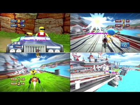 Sonic & Sega all star racing Seaside Hill challenge split screen