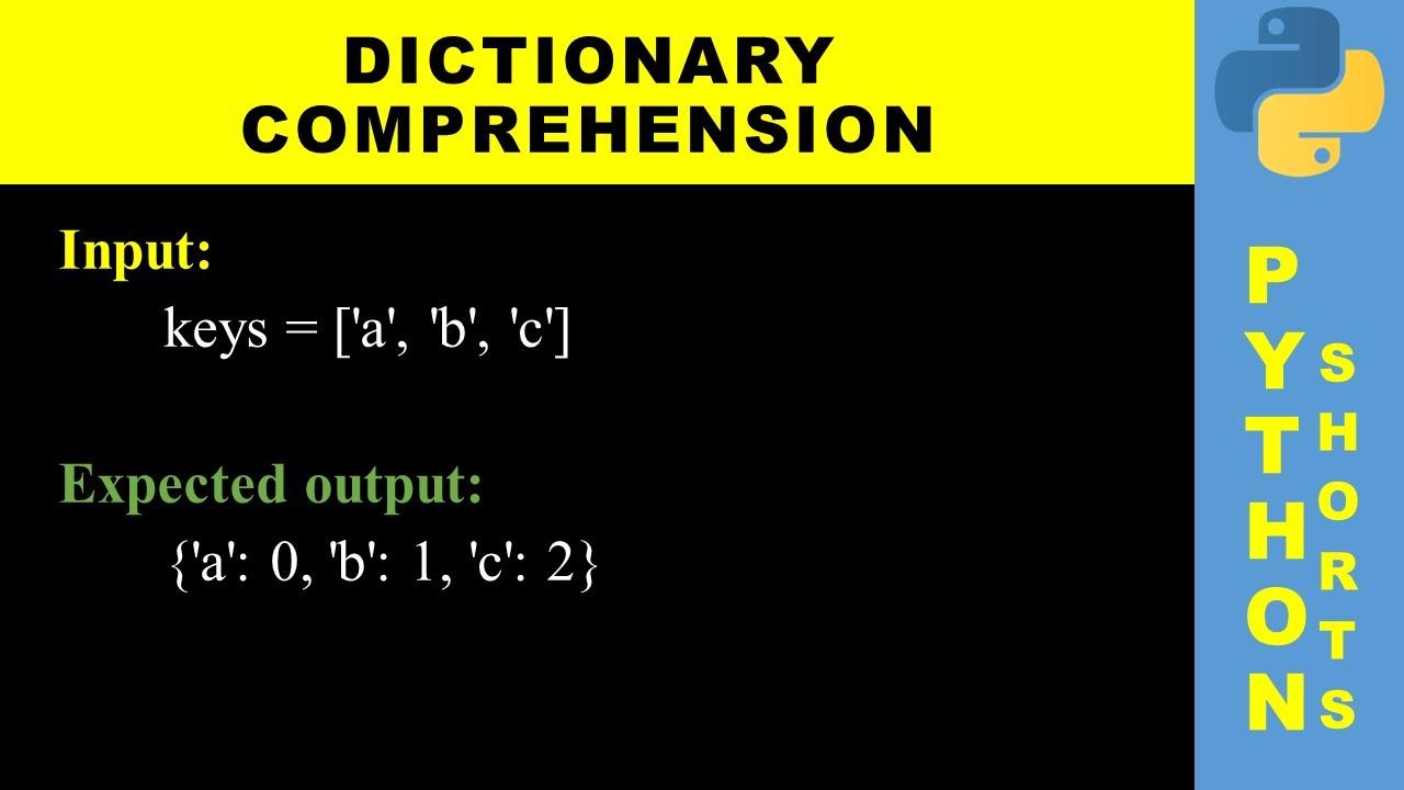 Dictionary comprehension   Python shorts