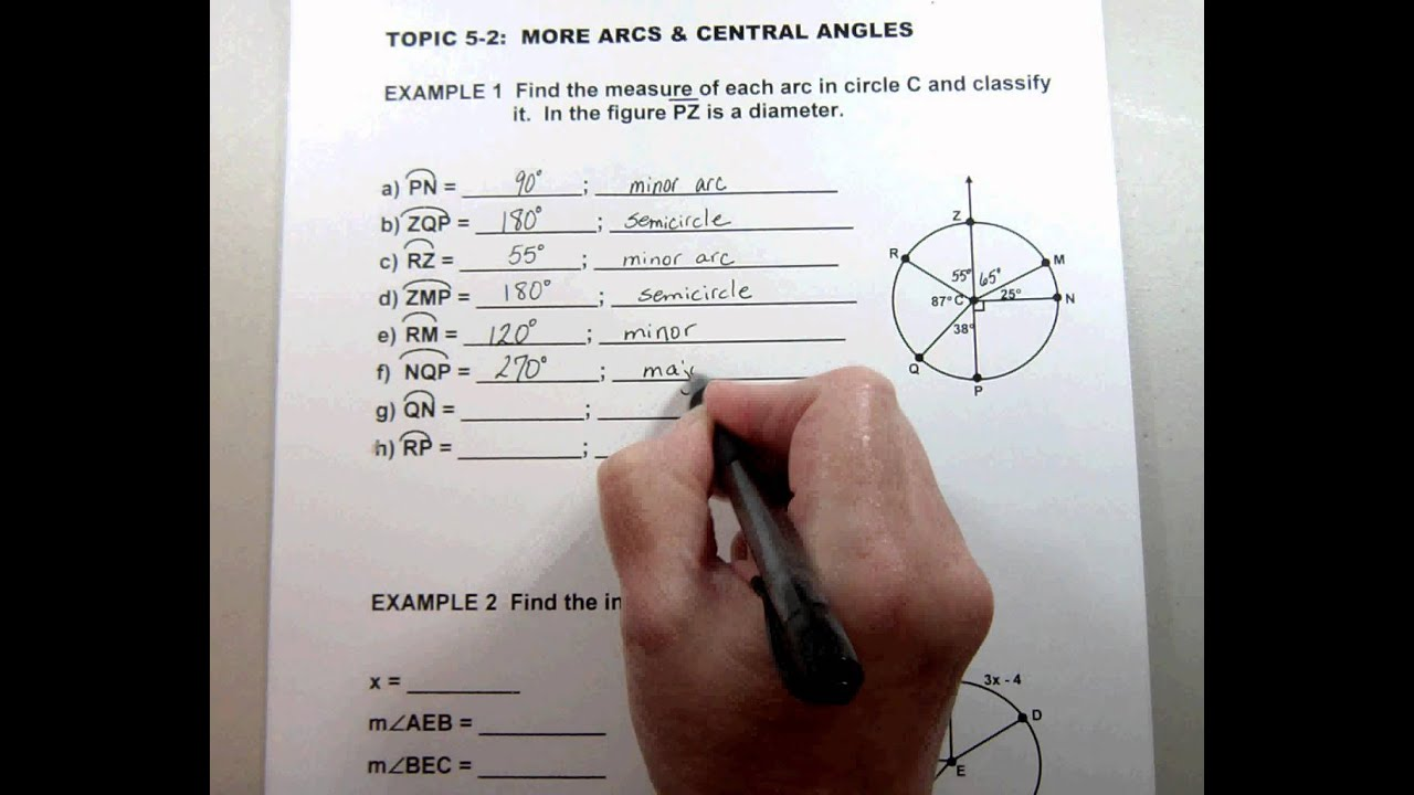 G2 Topic 5 2 More Arcs Amp Central Angles