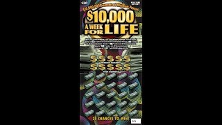 $20 - $10,000 A WEEK FOR LIFE! Lottery Bengal Scratching Scratch Off instant ticket