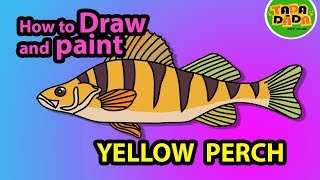 How to draw and paint FISH - YELLOW PERCH | STEP BY STEP | TADA-DADA Art Club