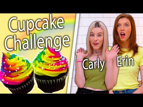 Carly and Erin Re-Create Viral Rainbow Cupcakes! | Top-Down Challenge