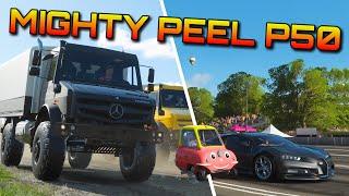 Forza Horizon 4   Peel P50 vs Unimog & Chiron!   + stunt park action xD