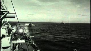 A task force leave Roi anchorage and destroyers and light aircraft carriers in Sa...HD Stock Footage