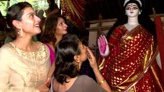 Kajol With Mom And Sister At Durga Puja 2017 - Biggest Durga Murti