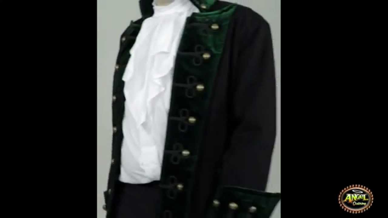 c001b34666267e Raven Mens Steampunk Gothic Pirate Frock Coat in Black and Green Velvet