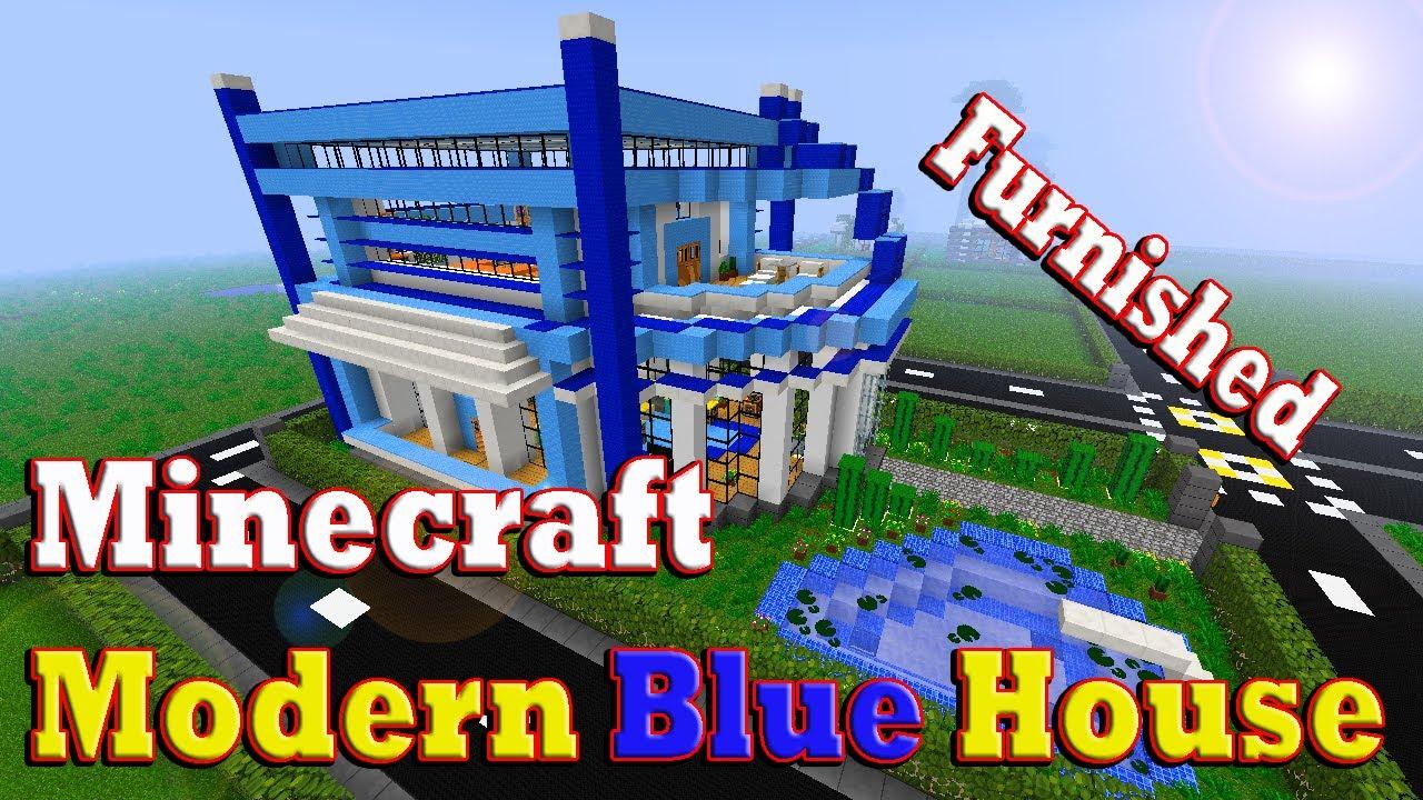 Minecraft modern blue house youtube for Blue modern house