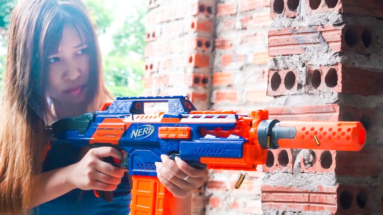 Hihahe Nerf War: Three Girls & FBI TEAM Nerf Guns Ruffians Group Skills Rescuing Sister