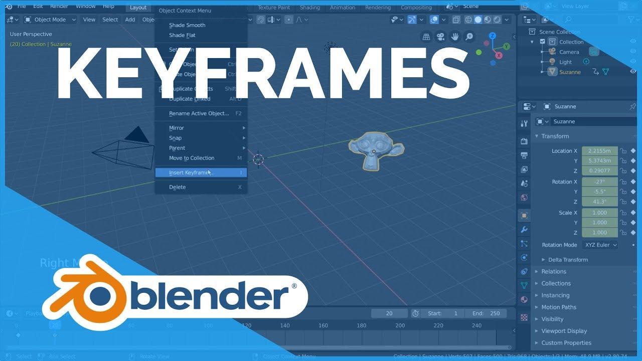 Keyframes Blender 2 80 Fundamentals Youtube