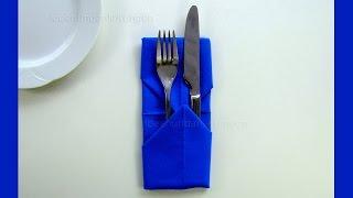 Repeat youtube video Servietten falten: Bestecktasche - Einfache Tischdeko für Weihnachten basteln - DIY