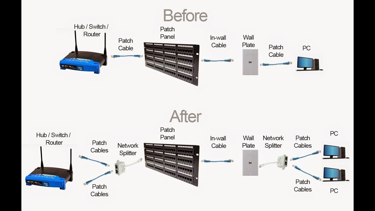 How To Use A Ethernet Splitter Youtube Cat5e Vs Cat6 Cables Router Switch Blog