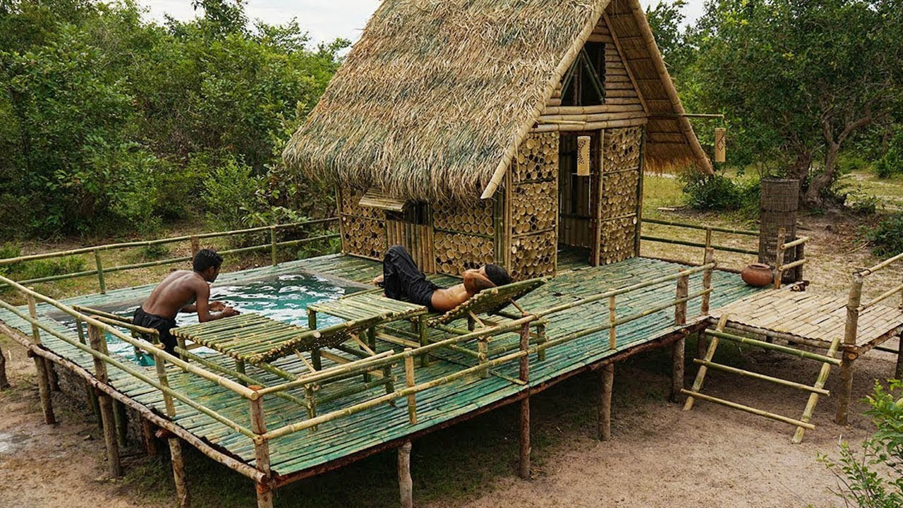 Bamboo Villa House and Swimming Pool from Bamboo 100% Using Ancient Skills Building