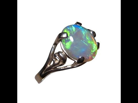 Solitaire Green Crystal Opal Ring 925 Silver | FlashOpal