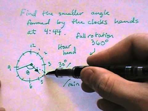 Finding the measure of the angle between clock hands given a time