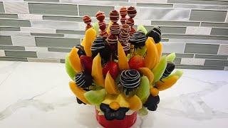 DIY Como hacer Arreglo de Frutas con Fresas Cubiertas De Chocolate   Edible Fruit  Arrangement
