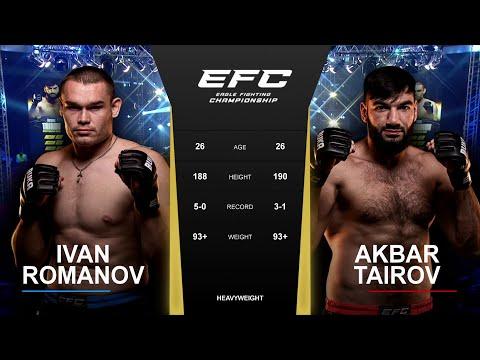 Удушающий приём в бою тяжеловесов | EFC 42: Иван Романов - Акбар Таиров